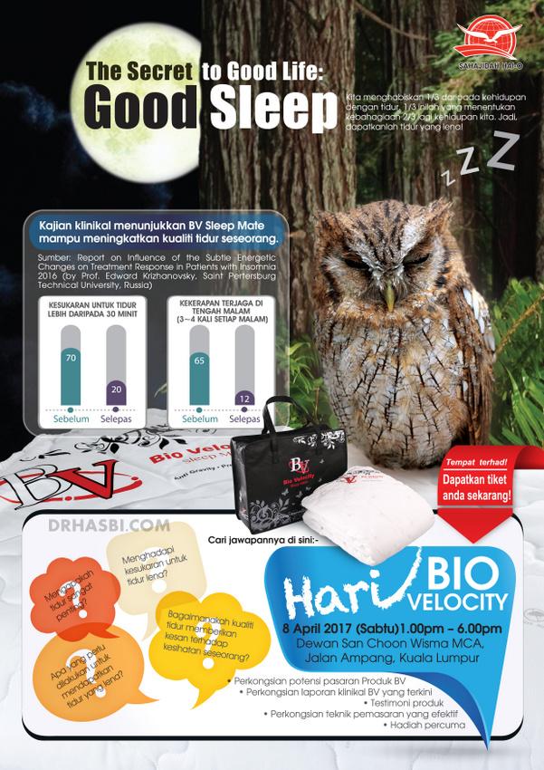 Dr Hasbi sebagai panel jemputan menyampaikan laporan kajian klinikal Bio Velocity Sleep Mate mampu meningkatkan kualiti tidur pada Hari BIO VELOCITY